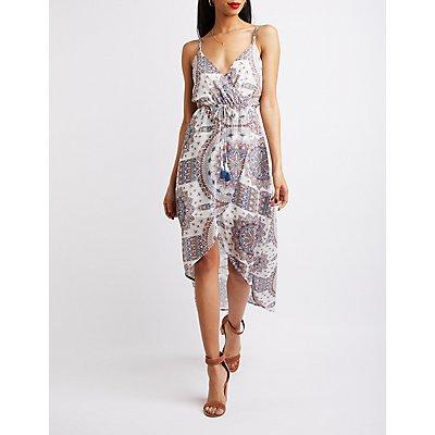 Wrap Tie-Waist High-Low Dress