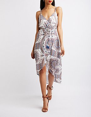 Wrap Tie-Waist High-Low Dress