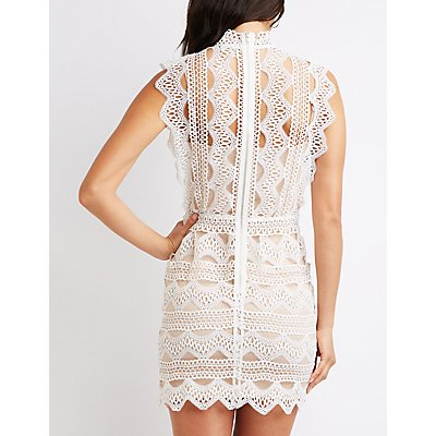 Mock Neck Crochet Bodycon Dress