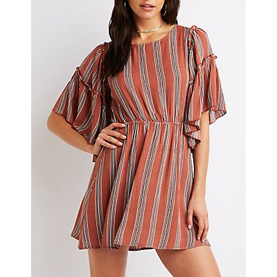 Striped Ruffle Sleeve Shift Dress