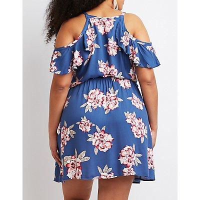 Plus Size Floral Wrap Skater Dress