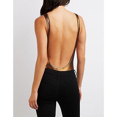 Metallic Scoop Back Bodysuit