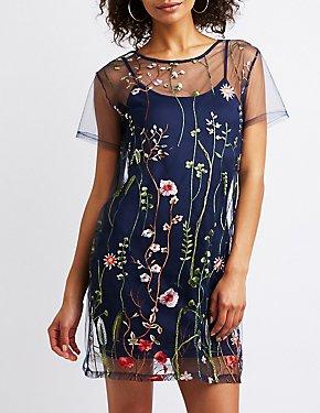 Floral Mesh T Shirt Dress