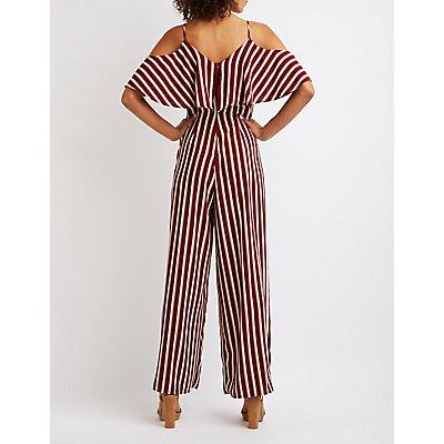 Striped Cold Shoulder Ruffle Jumpsuit