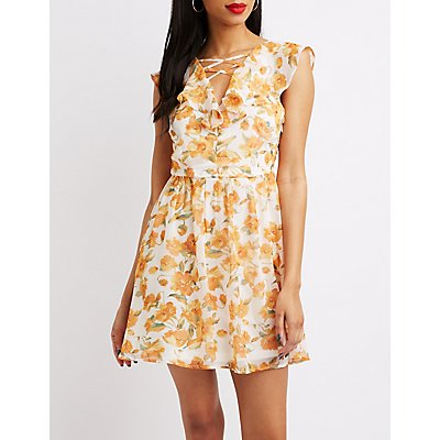 Floral Ruffle Lattice-Front Dress
