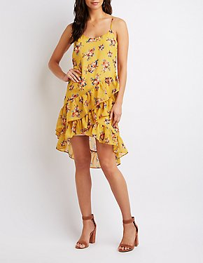 Floral Tiered Ruffle High-Low Dress