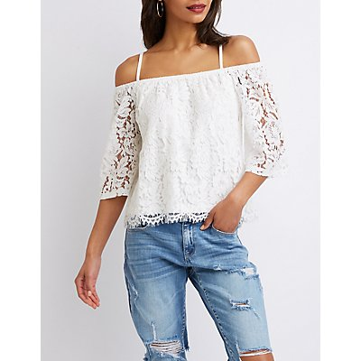 Floral Lace Cold Shoulder Top