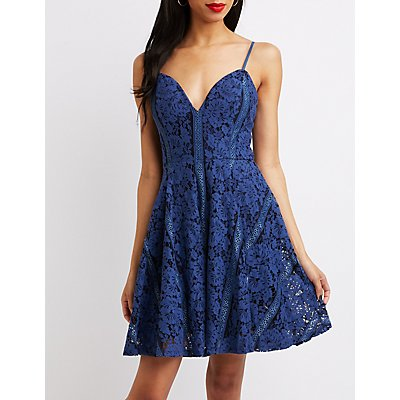 Notched V-Neck Lace Skater Dress