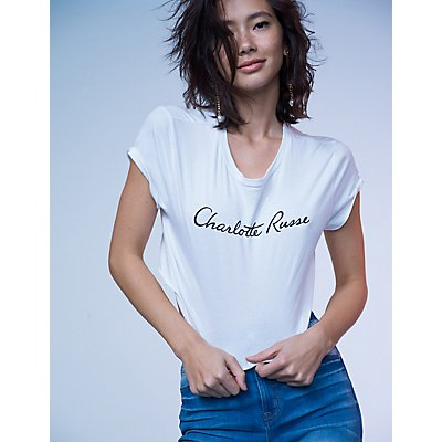 Charlotte Russe Graphic Crop Tee