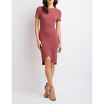 Ribbed Knit Asymmetrical Midi Dress