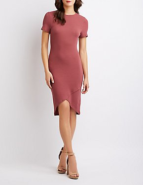 Ribbed Knit Asymmetrical Midi Dress