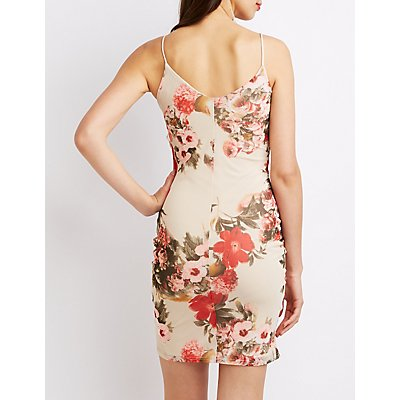 Floral Ruched Ruffle-Trim Bodycon Dress