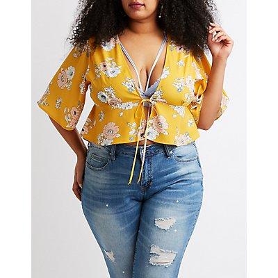 Plus Size Kimono Sleeve Tie-Front Top