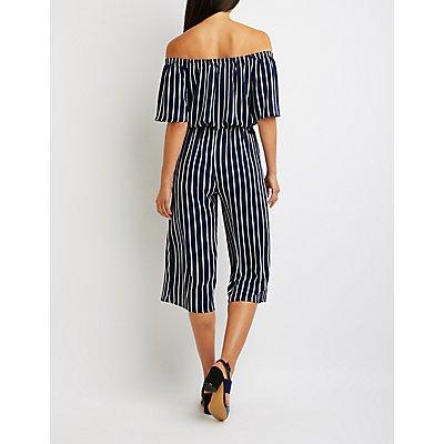 Striped Off-The-Shoulder Jumpsuit