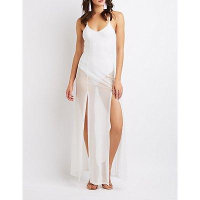 Sheer Mesh Bodysuit Maxi Dress