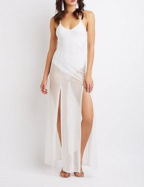 Sheer Mesh Bodysuit Maxi Dress