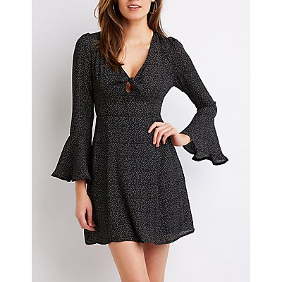 Polka Dot Bell Sleeve Skater Dress