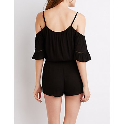 Cold Shoulder Tie-Front Romper