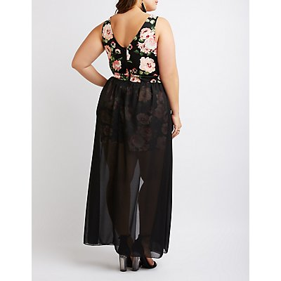 Plus Size Floral Layered Maxi Romper