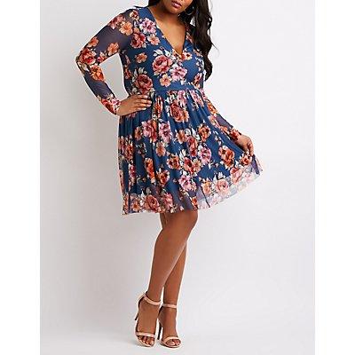 Plus Size Floral Mesh Skater Dress