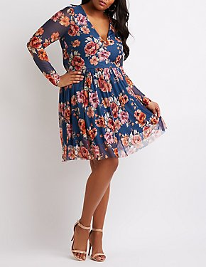 Plus Size Floral Mesh Skater Dress