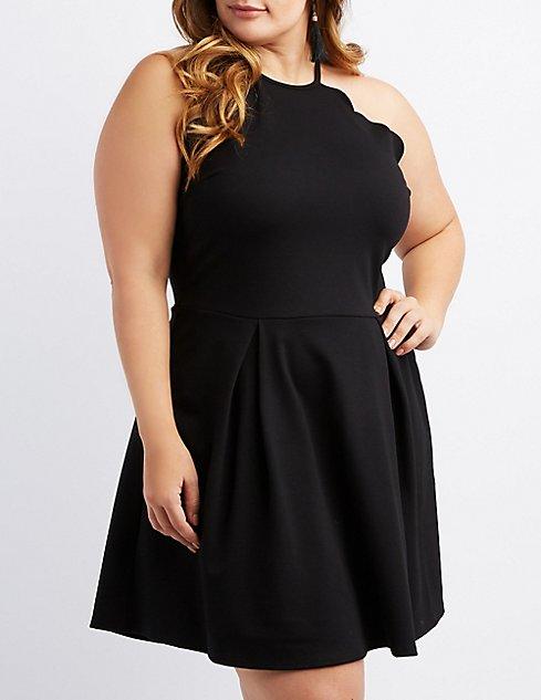 Plus Size Scalloped Bib Neck Skater Dress Charlotte Russe