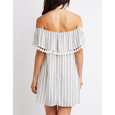 Striped Tassle-Trim Off-The-Shoulder Dress