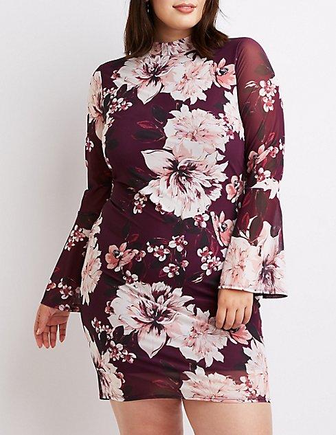 11da757cfb6 Images. Plus Size Floral Mock Neck Bell Sleeve Dress ...