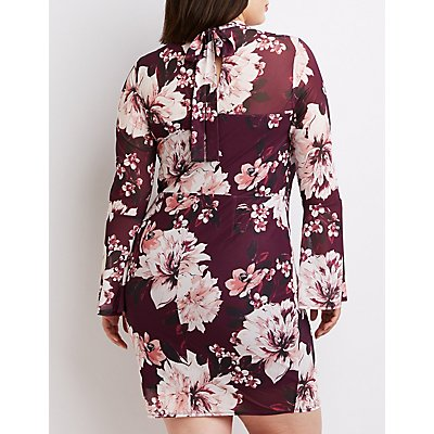 Plus Size Floral Mock Neck Bell Sleeve Dress