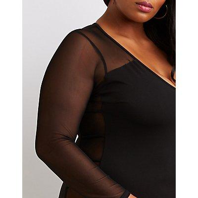 Plus Size Mesh Panel Bodycon Dress