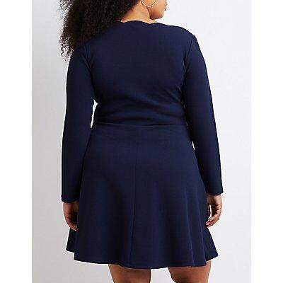Plus Size Scalloped-Trim V-Neck Skater Dress