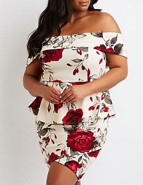 Plus Size Floral Print Peplum Dress