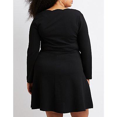 Plus Size Scalloped Skater Dress