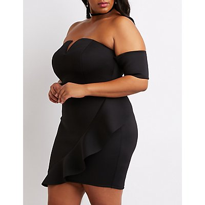 Plus Size Notched Off-The-Shoulder Ruffle-Trim Dress