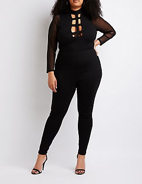 Plus Size Caged Mesh Trim Jumpsuit
