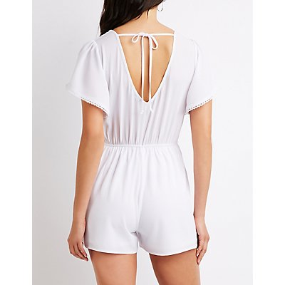 Flutter Sleeve Button-Front Romper