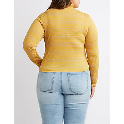 Plus Size Lettuce-Trim Striped Top