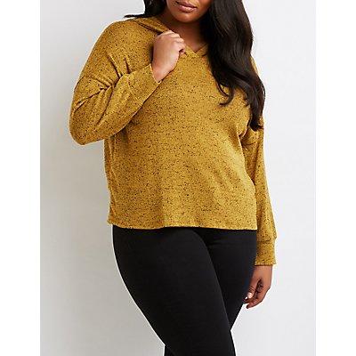 Plus Size Hacci Knit Hooded Sweatshirt