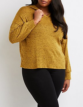 Plus Size Hacci Knit Hooded Sweatshirt