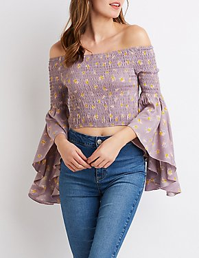 Floral Printed Off-The-Shoulder Smocked Cropped Top