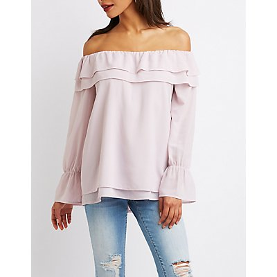 Ruffle-Tiered Off-The-Shoulder Top