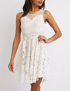 Mesh & Lace Skater Dress