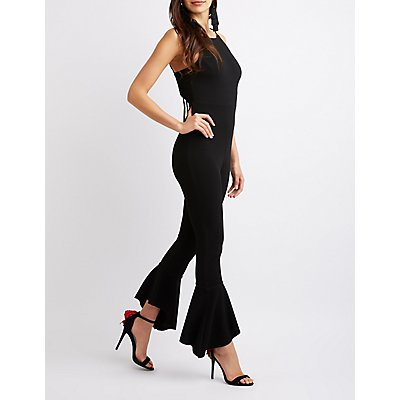 Tie-Back Ruffle-Trimmed Jumpsuit
