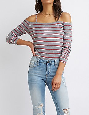 Striped Ribbed Knit Cold Shoulder Top