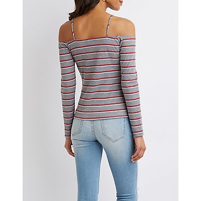 Striped Ribbed Knit Cold Shoulder Top