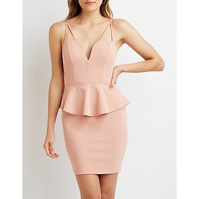 Strappy Peplum Bodycon Dress