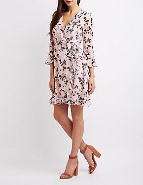 Floral Ruffle-Trim Surplice Skater Dress