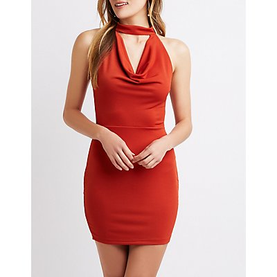 Mock Neck Cowl Detailed Bodycon Dress