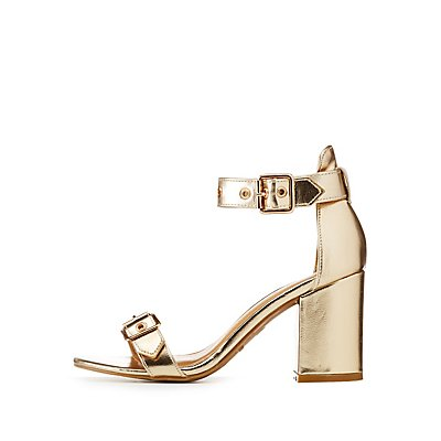 Metallic Buckle Ankle Strap Sandals