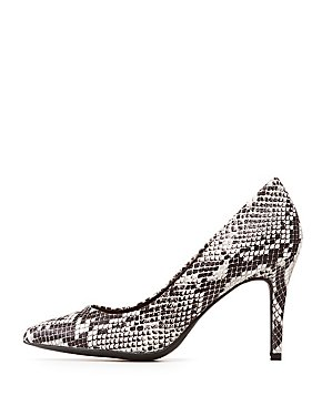 Bamboo Snakeskin Pointed Toe Pumps